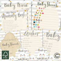 Baby Shower Games Prediction Cards Who Knows Mum Best Invites Stickers New Mum