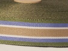 Striped Grosgrain Ribbon ~ 5 yards ~New~ 7/8 inches ~ Blue~Green~Tan~White