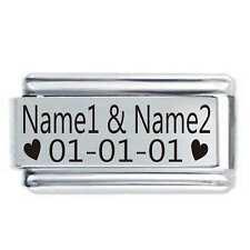 Daisy Charm 18mm Custom Made 2 Name & Date * Fit Italian Modular Charm Bracelets