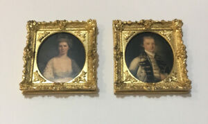 Pair Of Dolls House Portraits In Gold Frames