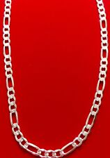 .925 Solid Sterling Silver Diamond Cut  8.5mm (200) Figaro Chain For Mens