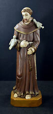 Saint Francis with Birds Statue Handcarved Painted Wood Saint Olinda Brazil 16""