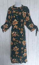 JOE BROWNS, UK 18, Green Lily Floral Midi Dress, 3/4 Sleeve, Flared Skirt!