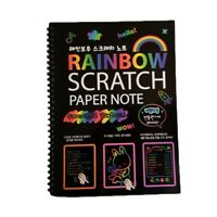 19x26Cm Large Magic Color Rainbow Scratch Paper Note Book Black Diy Drawing J8S6