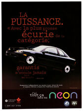 1996 DODGE PLYMOUTH Neon Vintage Original Print AD Black car photo French Canada