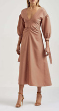 Scanlan Theodore Stripe Gathered Sleeve Midi Dress in Clay  Sz 10 RRP$600