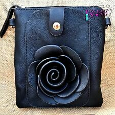 Black Rose Small Bag with Mobile Phone Spectacle Holder Long Cross Body Strap