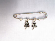 "NEW 2"" PIN BROOCH w 3 CRYSTALS & 2 SWIRL PAPER ROSE FLOWER DOUBLE DANGLE CHARMS"