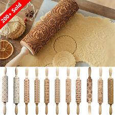 Wooden Christmas Rolling Pin Embossing Engraved Dough Roller for DIY Baking Tool