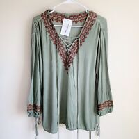 POL Embroidered Long Sleeve Lace Tie Globetrotter Top Boho Size Small NWT