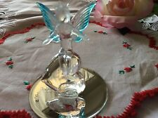 Glass-Crystal Angel-Blue Wings-Heart Glass Figurine-Mirror Base New! 4 Valentine