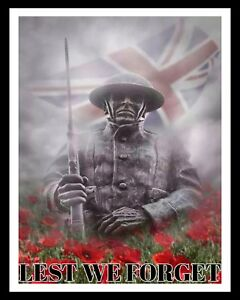 REMEMBRANCE DAY LEST WE FORGET POPPY POPPIES WORLD WARS METAL PLAQUE SIGN R59