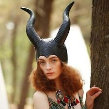 Funny Women Maleficent Costume Evil Witch Black Horn Cosplay Mask Halloween Hat