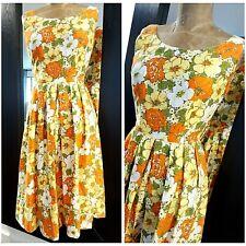 Vintage 60s Floral Cotton Dress Size Small Pleated Rockabilly MOD Mini Festive