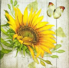 3 x Single Paper Napkins For Decoupage Yellow Sunflowers Flowers Butterfly M491