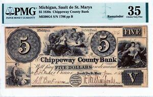 Sault de St. Marys, Michigan  Chippeway Co Bank  $5 1830s  Obsolete  PMG 35