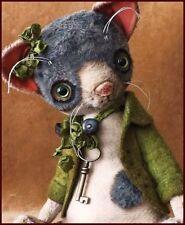"READY to SHIP Alla Bears 7.5"" artist Old Cat art Thanksgiving decor green grey"