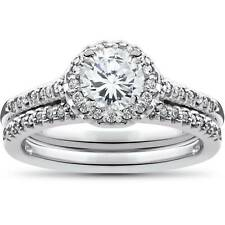 1ct diamantes Halo Anillo de compromiso boda soliaire que empareja Set 10K Oro Blanco