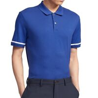 Theory Mens Shirt Blue Size Medium M Polo Function Pique Tipped $135- 092
