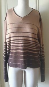 Gio Villani Merino Wool Lightweight VNeck Knit Striped Sweater Womens XL Italy