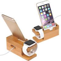 Supporto da tavolo per caricabatterie da ricarica in legno per Apple Watch Phone