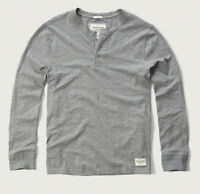 NWT Abercrombie & Fitch Men Long Sleeve Henley T Shirt Top M Heather Grey