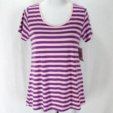 Lularoe Classic T Knit Top Sz S Pink Purple Stripe Short Sleeve Polyester Rayon