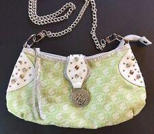 RocaWear Purse Shoulder Bag Green White Embellished Silver Metallic Bling 12x6
