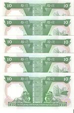 Hong Kong & Shanghai Banking Corporation $10 Lot of 6 Consecutive Notes UNC