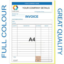 More details for personalised a4 invoice book / duplicate / ncr / receipt/ order, 50 sets / pad