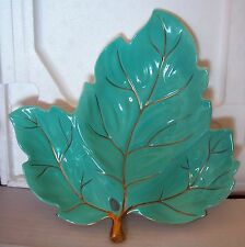 A CARLTON WARE HAND PAINTED WITH GOLD & TURQUOISE LEAF SHAPE NUTS/SWEETS PLATE
