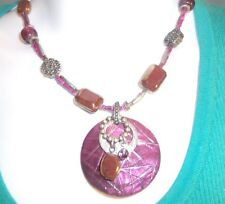 """Brand name necklace 14 """" long silver purple maroon beads & charms BIG medallion"""