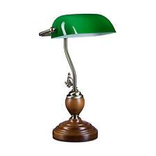 Bankerlampe Schreibtischlampe Grün Bürolampe Tischleuchte Lampe Messing Holz E27