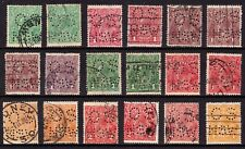 Australia 18 used Kgv stamps with Os Nsw perfins