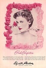 1953 Elizabeth Arden PRINT AD Pink Perfection Lipstick Pretty Boudoir Bath Decor