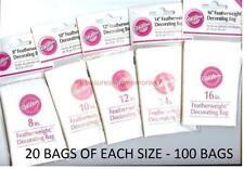 "WILTON Premium LOT of 100 FEATHERWEIGHT DECORATING BAGS 20 ea 8"" 10"" 12"" 14"" 16"""