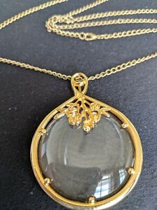 """Treasure Hunters's Magnifying Necklace 32"""" Floral Gold Tone Cable Chain"""