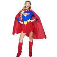 F4-3 Girls Superman Supergirl Superwomen  Dress Up Costume Superhero Fancy Dress
