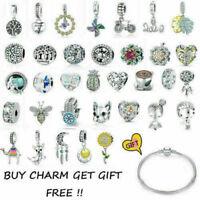 Authentic 925 Sterling Silver Charms Pendant Bead Fit European Bracelet Necklace