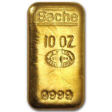 10 oz Gold Bar - Johnson Matthey (Poured, Loaf-Style, Bache) - SKU #52399