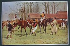 OLD ANTIQUE PRINT HORSE RACING AFTER THE RACE c1905 by G WRIGHT JOCKEYS