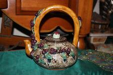 Chinese Majolica Ceramic Porcelain Pottery Teapot-Large Handle-Berries Leaves