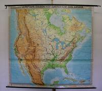 Schulwandkarte map Wandkarte Nordamerika America USA Kanada Canada 200x192 1970