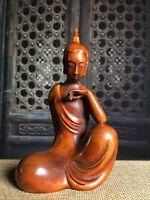 Collect Japanese Netsuke natural boxwood hand carving buddha statue figurines