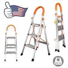 New 3 Step Aluminum Ladder Folding Steel Step Stool Anti-slip 330Lbs Capacity