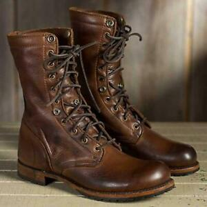 Men Punk Motorcycle PU Leather Mid Calf Boots Military Lace up Combat Shoes Size