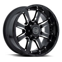 "22"" Black Rhino Sierra 22x10 Gloss Black w/Milled Spoke 6x135 Truck Wheel 0mm"