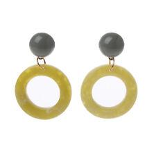 Acrylic Acetate Geometric Hoop Earrings Statement Circle Flat Resin Earrings