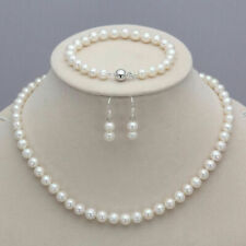New 7-8mm Real Natural Freshwater Pearl Necklace Bracelet Earrings Jewelry Set