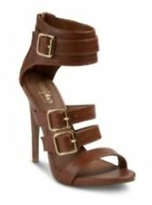 Mossimo Womens Caged Pumps Marlenee Stiletto Zip Back Cognac Brown 8.5 NWOB